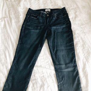 Paige Denim Kylie Crop Dark Wash Cuffed Jeans